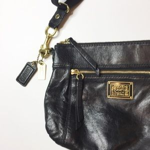 Coach Poppy Crossbody Black Leather gold hardware